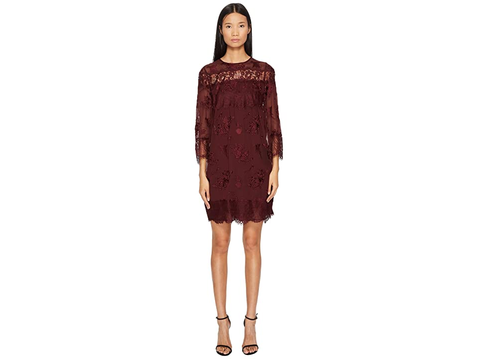 The Kooples Dress in Embroidered Fabric with Lace (Burgundy) Women