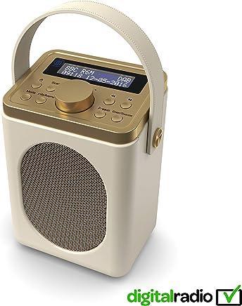 Majority Little Shelford DAB/DAB+ Digital & FM Radio, Portable Wireless, Bluetooth, with Stereo Sound, Dual Alarm Clock/Leather Effect Finish/Mains Powered (Cream)