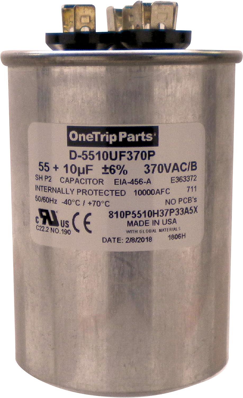 Super special price OneTrip Parts USA Run Capacitor San Jose Mall 55+10 UF 2-1 MFD 55 2 VAC 10 370
