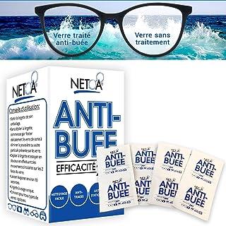 Netoa ® lingettes anti-buée anti fog pack de 120 pièces pour tous types de verres, lunettes de vue, solaires, natation, ma...