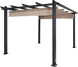woodgrain arched steel pergola with canopy