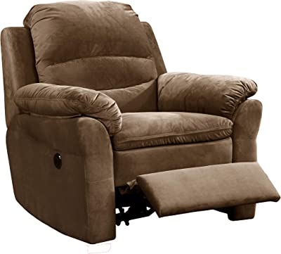 Benjara Fabric Upholstered Power Recliner Chair with Pillow Arms and USB Dock, Brown