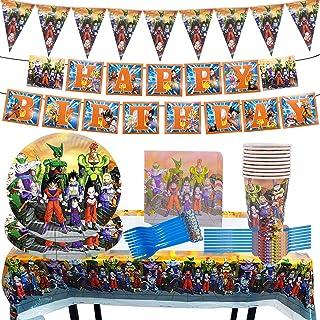 Ensemble Vaisselle Party Supplie Miotlsy 85pcs Dragon Ball Party Décoration pour Anniversaire d'enfant et Party avec Assie...