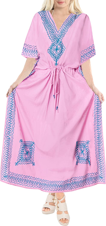 LA LEELA Women's Long Kaftan Swimsuit Cover Ups Night Casual Dress Embroidered