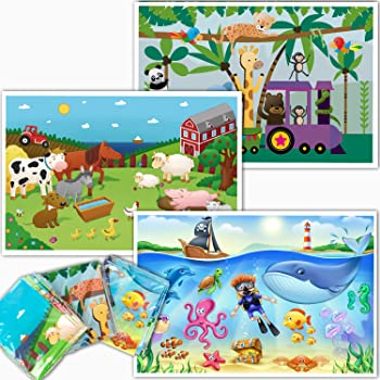 HomeWorthy Disposable Placemats for Baby - Farm, Ocean and Zoo Animals - Sticky Topper for Table - 60 Pack in 3 Designs