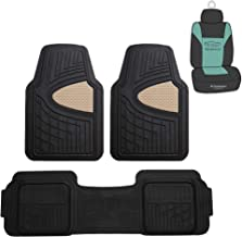 FH Group F11511 Car Floor Mats All-Weather Heavy Duty Tall Channel Full Set Mats w, Universally Designed for Trucks, Cars, SUVs, All Automobiles- Beige/Black