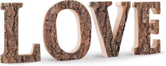 Wooden Love Letters Decor, Decorative Cutout Sign with Rustic Unfinished Bark and Hardwood Sides, Handmade Word Display for Kitchen, Living Room, Made in Germany