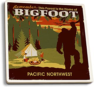 Lantern Press Pacific Northwest - Home of Bigfoot - WPA Style (Set of 4 Ceramic Coasters - Cork-Backed, Absorbent)