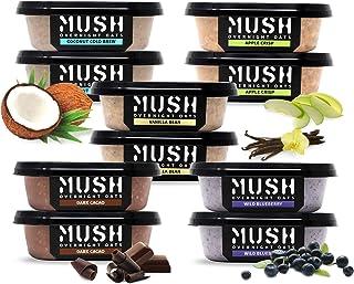 MUSH Overnight Oats Healthy Breakfast, Gluten-Free, Non-GMO, Dairy Free, Protein Rich, No Sugar, 10 Pack Oatmeal Cups, Blu...