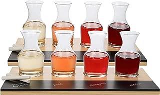 Wine Tasting Flight Sampler Set (2 Pack) - Eight 6oz Decanter Glasses With 2 Wood Paddles, 2 Chalkboards and Chalk