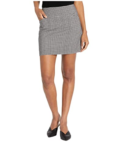 Elliott Lauren Stretch Gingham Two-Pocket Skort with Side Slits (Black/White) Women