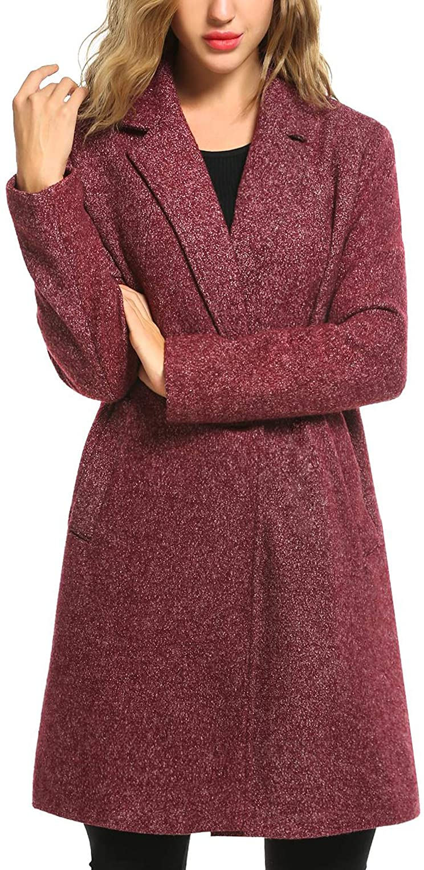 Zeagoo Women's Wool Blend Coat Notch Lapel Single Breasted Outwear Mid Long Pea Coat Jacket