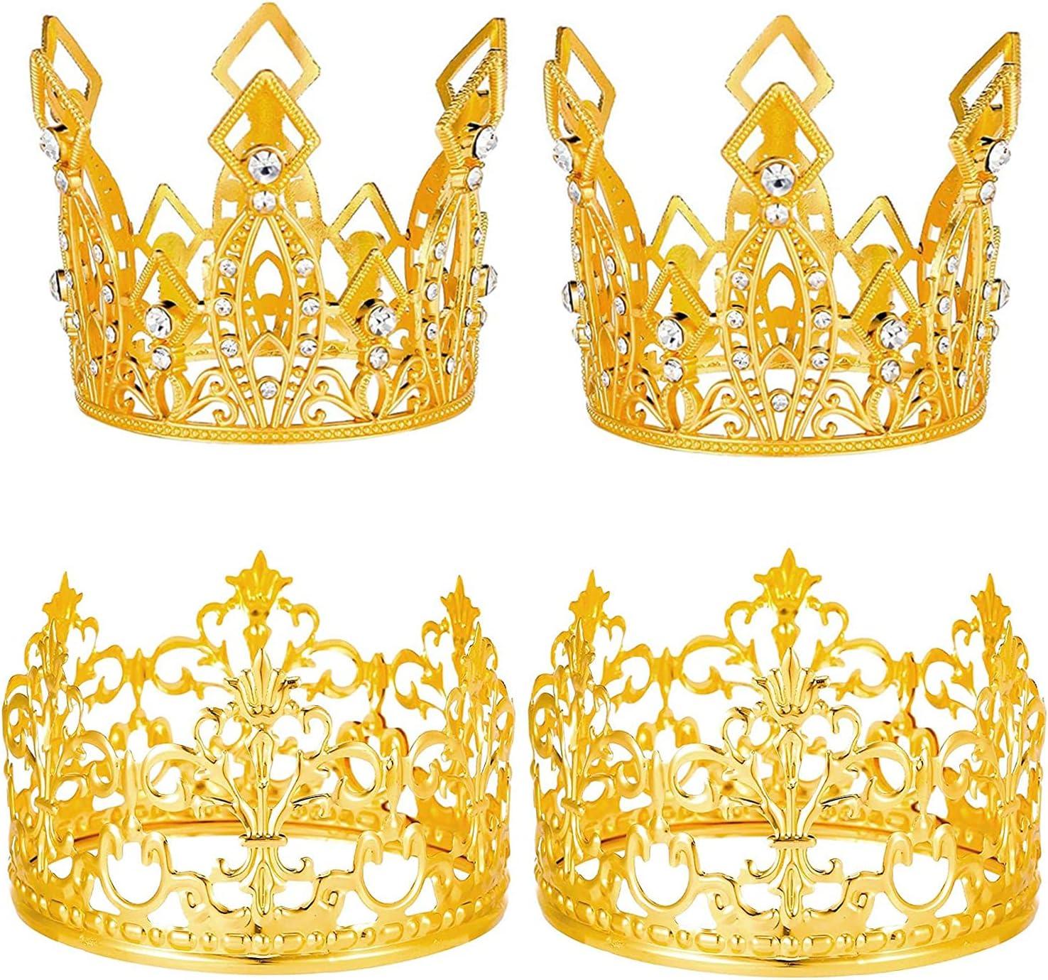 Teblacker 4 Dedication Pieces Gold Crown Tiara Topper Cake Branded goods Toppe
