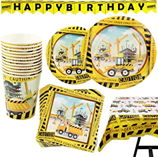 102 Piece Construction Party Supplies Set Including Plates, Cups, Napkins, Tablecloth and Banner, Serves 25