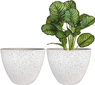 Flower Pots Outdoor Indoor Planter - 11.3 inch Garden Pots Tree Planter for Patio, Deck,Garden,Speckled White,Set of 2