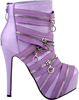 Show Story Punk Black Zip Gothic Platform Stiletto Ankle Bootie Boots,LF80845