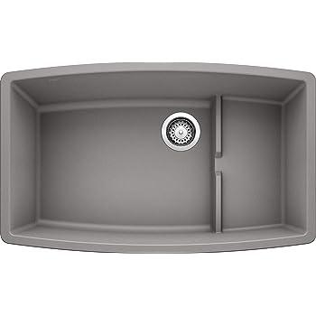 BLANCO, Metallic Gray 440067 PERFORMA CASCADE SILGRANIT Undermount Kitchen Sink with Colander
