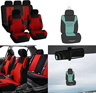 FH Group FB071115 Travel Master Fabric Car Seat Covers, Airbag Compatible & Split Bench, w. Free Air Freshener, Red/Black Color- Fit Most Car, Truck, SUV, or Van