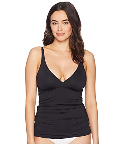 Tommy Bahama Pearl Over the Shoulder V-Neck Long Tankini (Black) Women