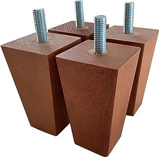 IPEA Lot de 4 Pieds carrés en Bois pour Meubles et canapés - Lot de 4 Pieds pour fauteuils et armoires - Pieds Massif - Co...