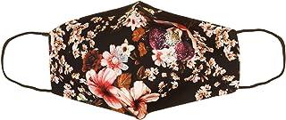 VialeScarpe fodera in cotone; lavabile e riutilizzable; Donna; Nero; taglia unica mascherina anatomica in cotone con strass 3 cuori