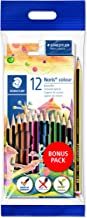 STAEDTLER Noris colour Buntstifte, hohe Bruchfestigkeit, Sechskant, Set mit 12 Farben, Bonuspack mit Radierer und Bleistift, 61 SET6