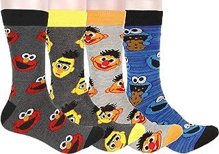 Bioworld Sesame Street Socks Adult Character Ernie Burt Cookie Monster Elmo Mid-Calf Crew Socks 4 Pair For Men Women