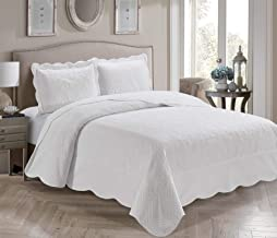 Home Collection 3 Piece King/California King Over Size Embossed Solid White Color Coverlet Bedspread New # Veronica