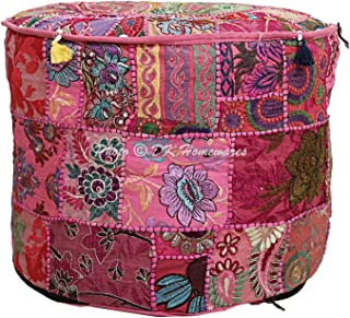 DK Homewares Indian Pouf Ottoman Cover Vintage Patchwork Pink Round Foot Rest Living Room Cotton Embroidered Pouffe Floor Cushion Floral Traditional 18x18x13