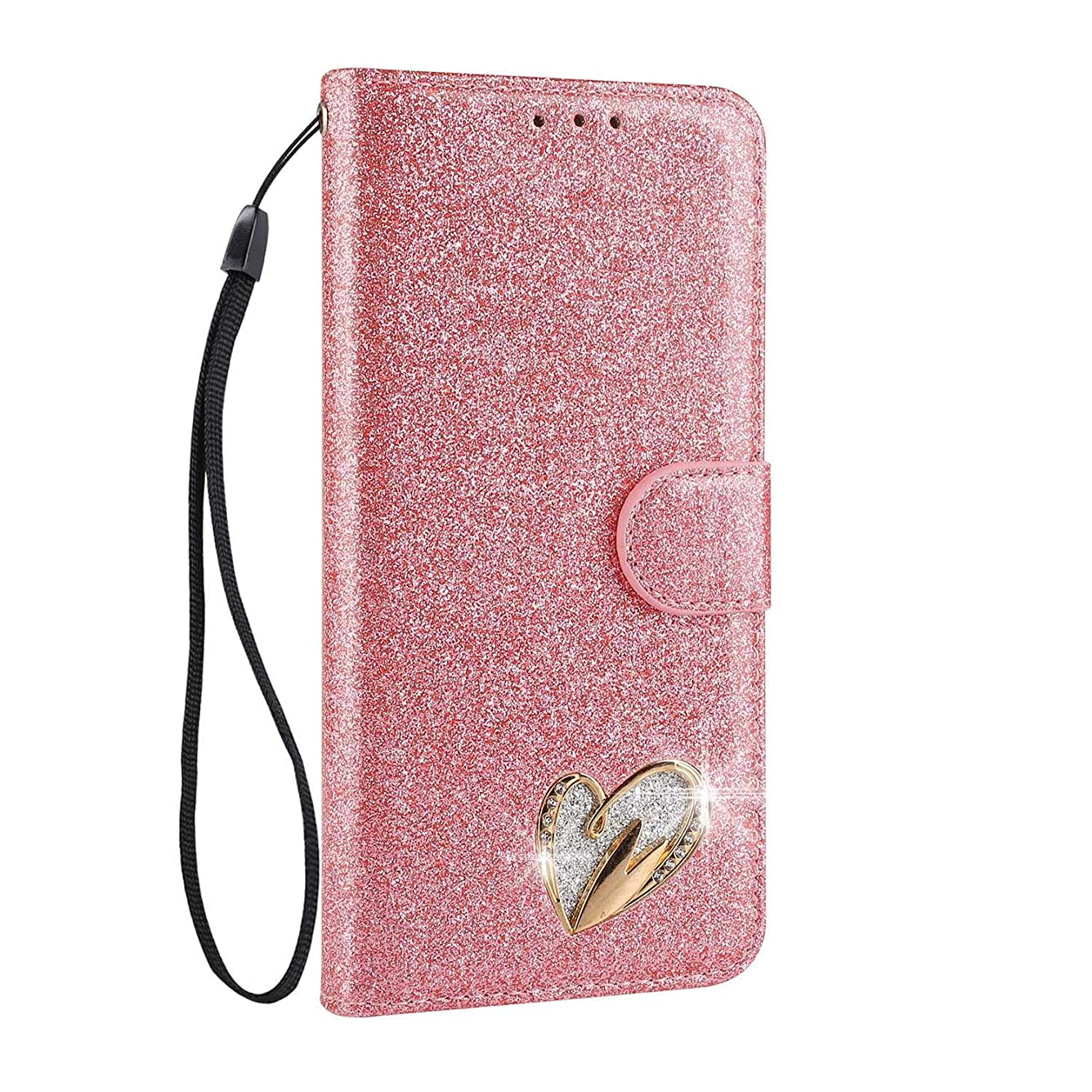 測定可能ラフ睡眠受付Galaxy S7 手帳型ケース Zeebox? 可愛い カードポケット マグネット式 保護ケース ダイヤカバー キラキラ 手帳 耐汚れ 耐摩擦 耐衝撃 ケースGalaxy S7 対応 女性向 スマートフォンケース, ピンク