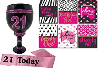 21st Birthday Giant Wine Goblet, Sash and Liquor Bottle Labels Gift Set, Finally Legal Birthday Party Decoration Ideas for Girls