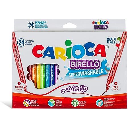 Carioca Pennarelli Birello Box | Scatola con Pennarelli Doppia Punta Super Lavabili, Pennarelli Punta Fine e Punta Media, Colori Assortiti, 24 Pezzi