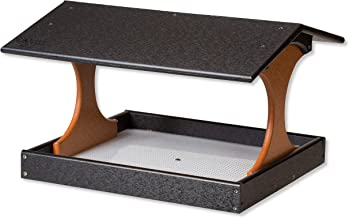 product image for Deluxe Fly-by Post Mount Poly Bird Feeder with Screen Floor (Black & Cedar)