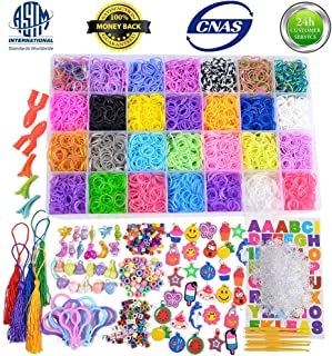 VICOVI 11900+ Loom Rubber Bands for Kids Bracelet Making Craft -11000pc Rainbow Rubber Loom Bands in 28 Differentt Colors + 600 Clips + 210 Beads (Include 60 Alphabet Beads) + 54 Lovely Charms + 10 B