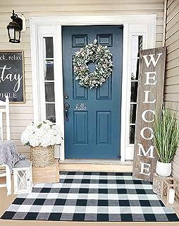"KaHouen Cotton Buffalo Plaid Rugs (35.4"" x59""), Black and White Washable Checkered Rugs,Woven Throw Rug, Floor Mat Carpet ..."