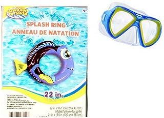 Splash-N-Swim Royal Blue Tang Dory Shaped Splash N' Swim Pool and Beach Swimming Ring with Child Swim Mask, 22-Inch