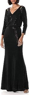 Calvin Klein Women's Long Sleeve Blouson Gown with Shoulder Cut Outs