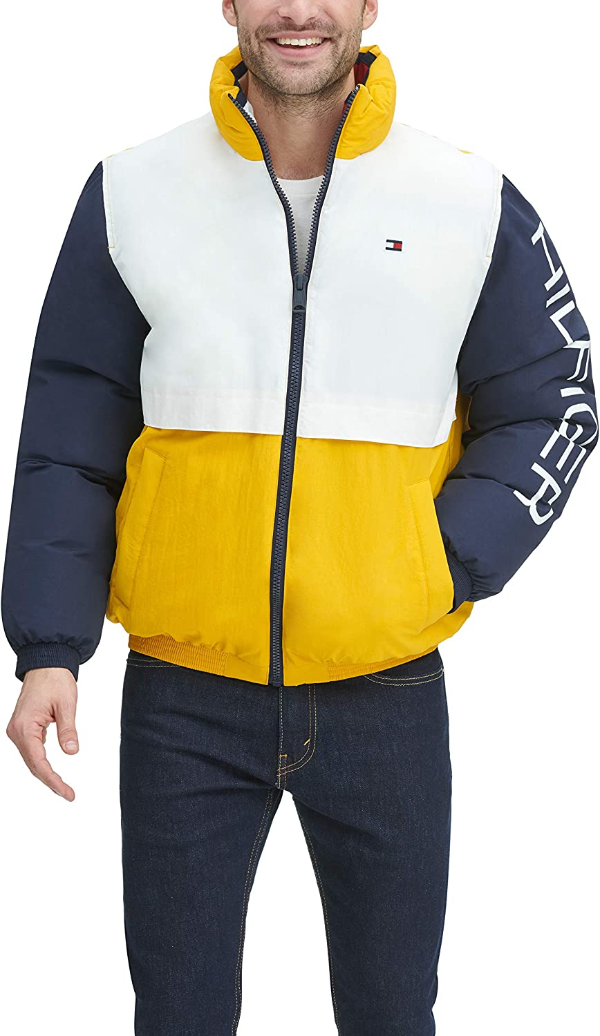 Tommy Hilfiger Men's Retro Colorblocked Stand Collar Performance Puffer Jacket