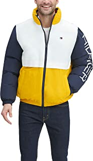 Men's Retro Colorblocked Stand Collar Performance Puffer Jacket