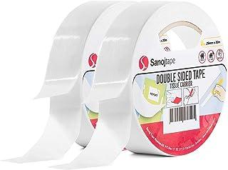 Sanojtape Dubbelzijdig Montage Tape (2-Pack) 25mm x 20m | Algemeen Gebruik voor Vaklui Foto's Kantoor Doe het zelf | Eenvo...