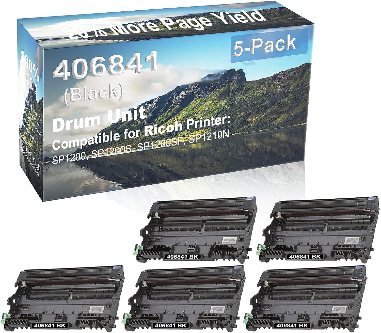 5-Pack Compatible Drum Unit (Black) Replacement for Ricoh 406841 Drum Kit use for Ricoh Aficio SP1200, SP1200S, SP1200SF, SP1210N Printer