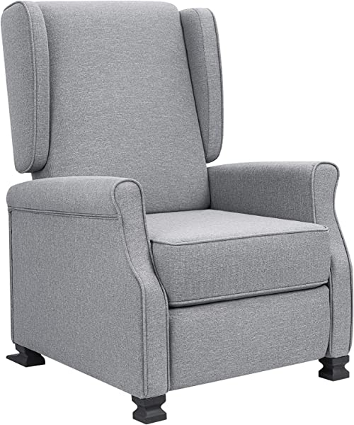 JUMMICO Recliner Chair Wingback Fabric Adjustable Modern Living Room Arm Chair Push Back Single Recliner Sofa Home Theater Chair Grey