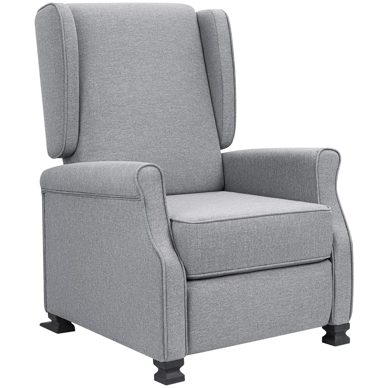 JUMMICO Recliner Chair Wingback Fabric Adjustable Modern Living Room Arm Chair Push Back Single Recliner Sofa Home Theater Chair (Grey)