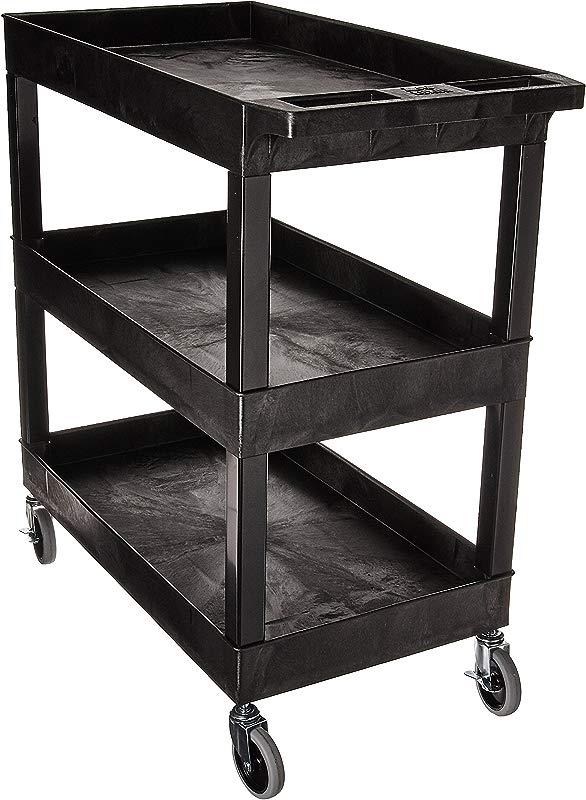 Luxor EC111 B Tub Storage Cart 3 Shelves Black 32 X 18