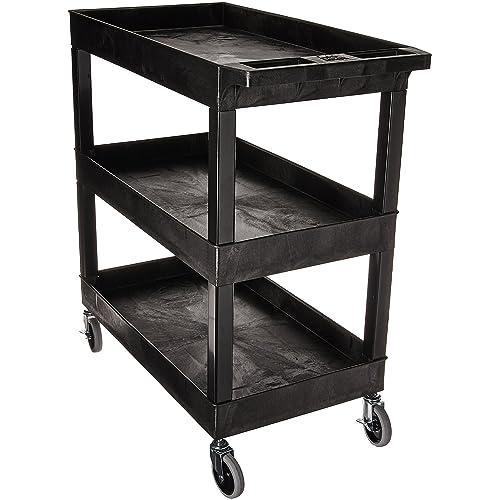 "Luxor 32""W x 18""D Mobile 3 Shelf Utility Storage Tub Cart -"