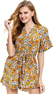 Beautytop Womens Off Shoulder High Waist Sleeveless Jumpsuit//Casual Loose Wide Leg Dungarees Rompers For Women Floral Printed Mini Playsuit//Women Mini Shorts Beach Jumpsuit