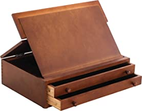 (2-Drawer Walnut Drawing Board Easel) - US Art Supply Walnut 2-Drawer Adjustable Wooden Storage Box with Fold Up Solid Dra...