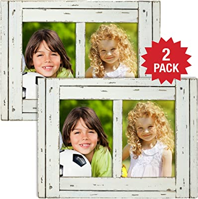 Excello Global Products Rustic Shabby Chic White Weathered Distressed Vintage Style Wooden Picture Frame with Self