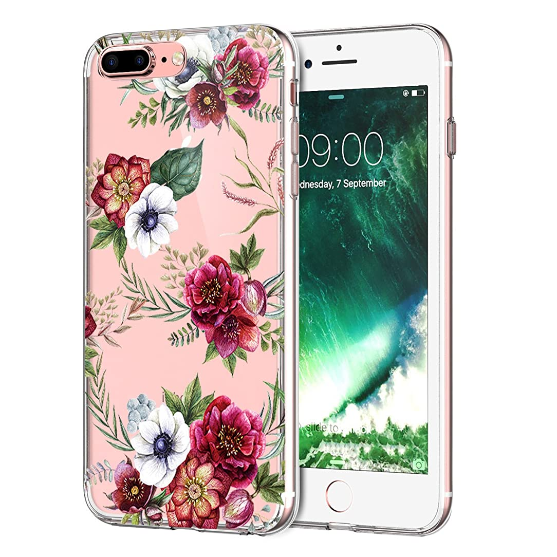 iPhone 8 Plus Case,iPhone 7 Plus Case,LUOLNH HD Floral Series TPU Bumper Soft Protective Slim Flexible Silicone Glossy Skin Cover Phone Case for iPhone 8 Plus/iPhone 7 Plus -White flowers