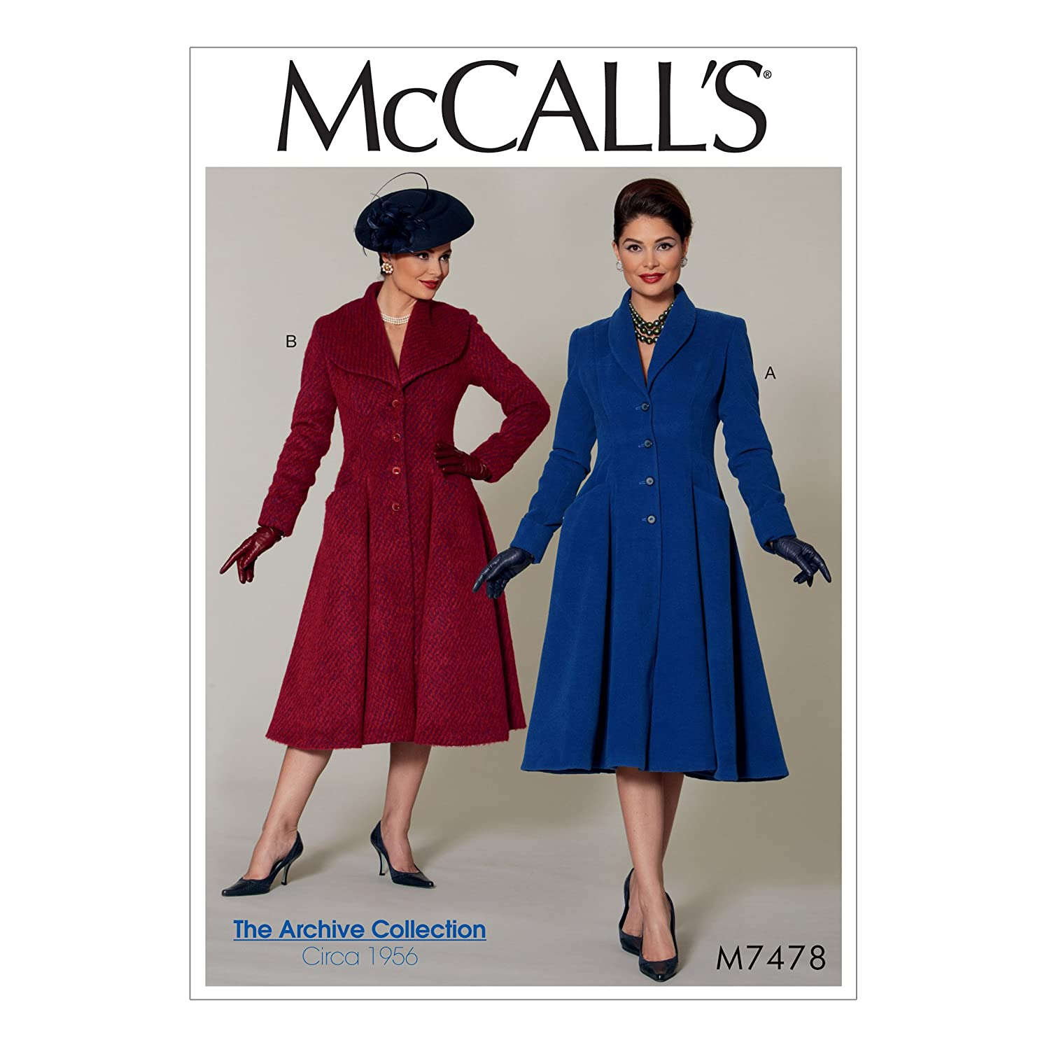 McCall Patterns M7478E50 Miss Petite Fit and Flare Shawl Collar Coats Sewing Pattern E5 (14-16-18-20-22)